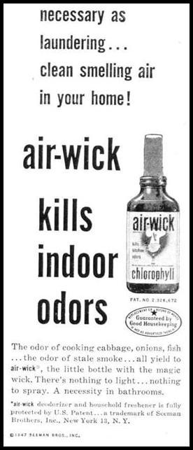 AIR-WICK DEODORIZER LIFE 10/27/1947 p. 12