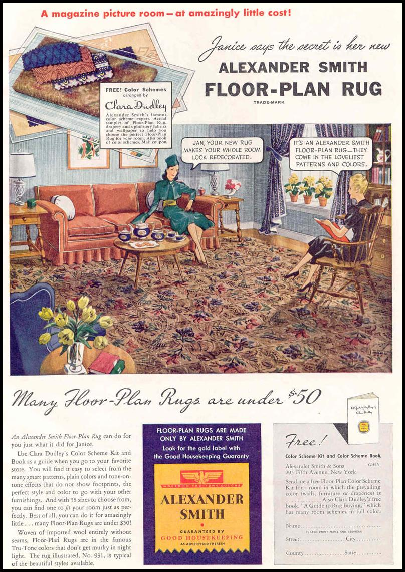 FLOOR-PLAN RUGS GOOD HOUSEKEEPING 03/01/1940 p. 157