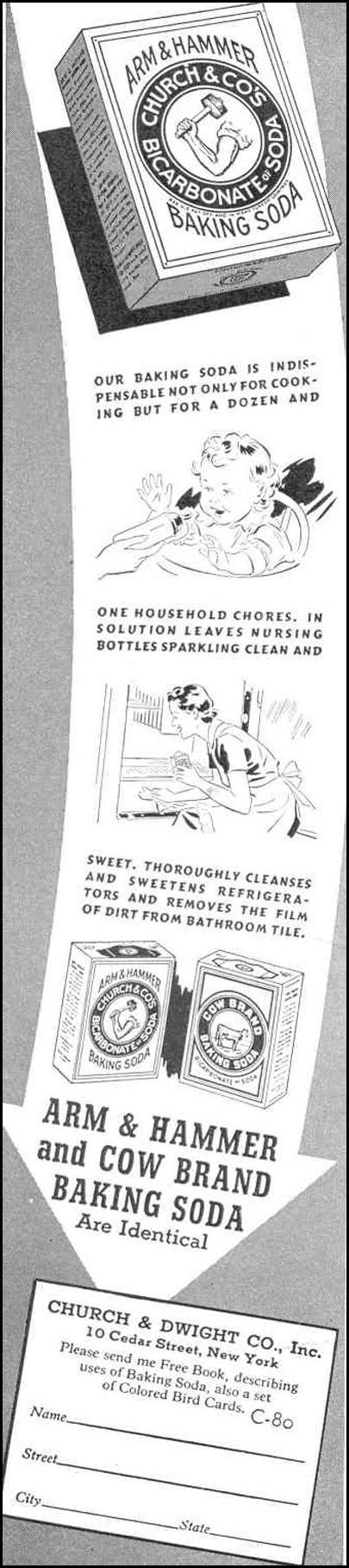 ARM & HAMMER BAKING SODA GOOD HOUSEKEEPING 03/01/1940 p. 184