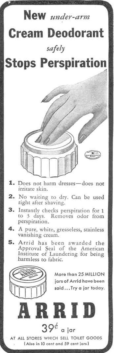 ARRID ANTIPERSPIRANT GOOD HOUSEKEEPING 03/01/1940 p. 176