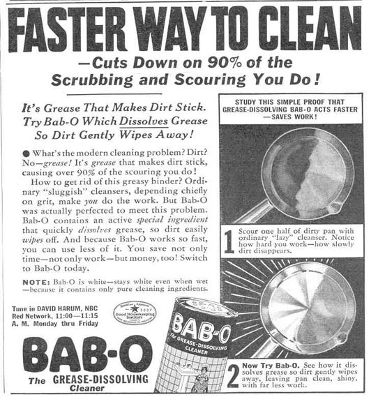 BAB-O CLEANER GOOD HOUSEKEEPING 03/01/1940 p. 201