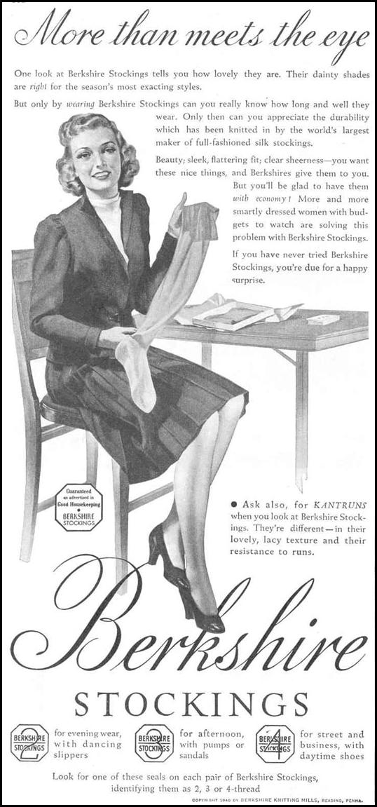 BERKSHIRE STOCKINGS GOOD HOUSEKEEPING 03/01/1940 p. 162