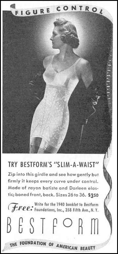 BESTFORM 'SLIM-A-WAIST' GIRDLE GOOD HOUSEKEEPING 03/01/1940 p. 203