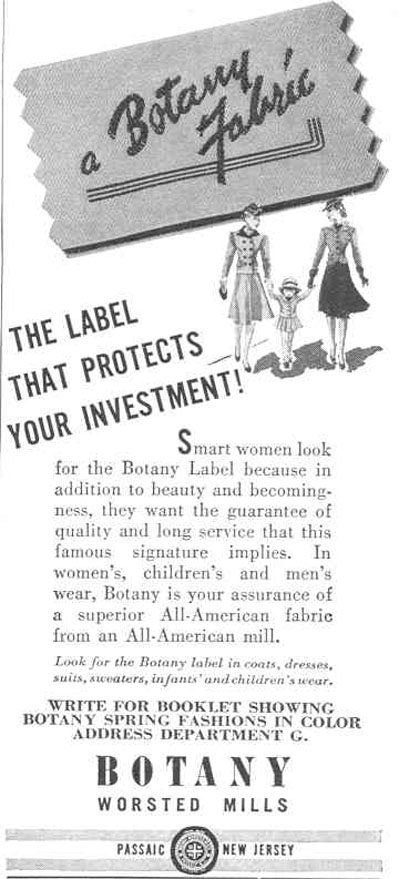 BOTANY FABRIC GOOD HOUSEKEEPING 03/01/1940 p. 180