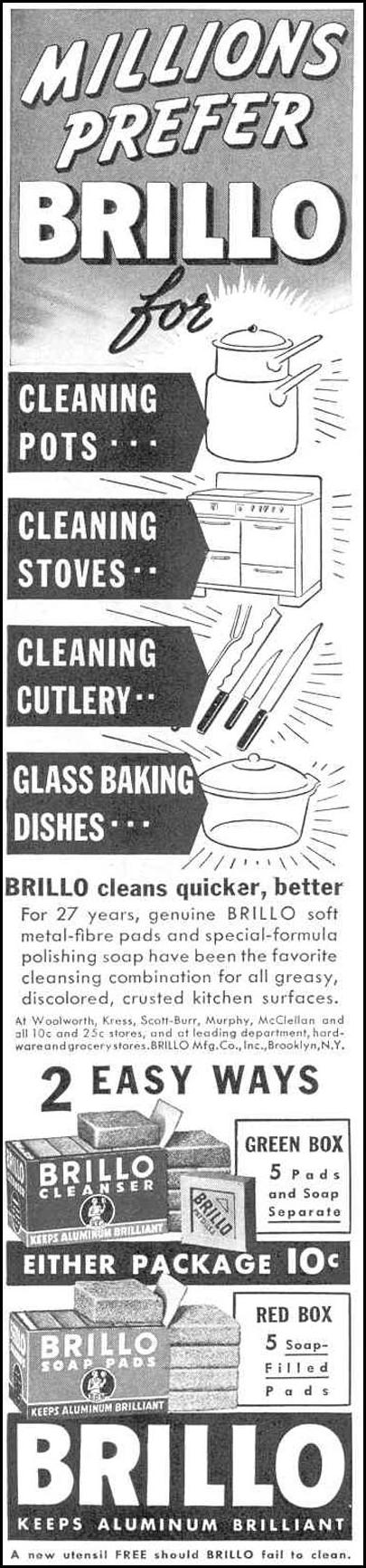 BRILLO SOAP PADS GOOD HOUSEKEEPING 03/01/1940 p. 86