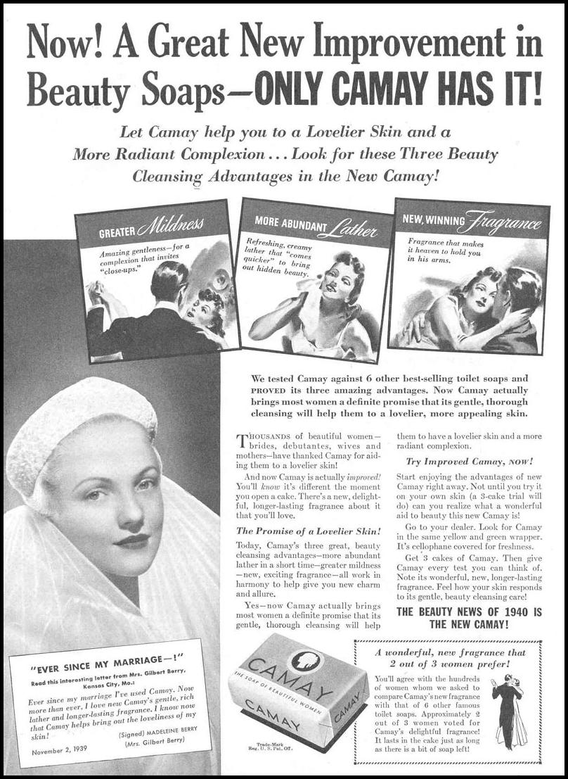 CAMAY BEAUTY SOAP GOOD HOUSEKEEPING 03/01/1940 p. 75