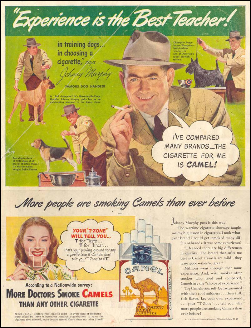 CAMEL CIGARETTES LIFE 10/27/1947 BACK COVER