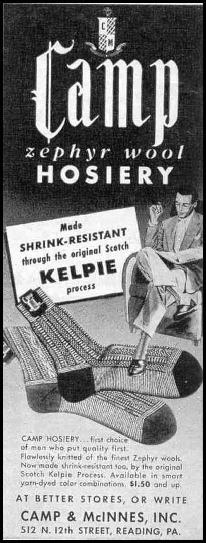 MEN`S SOCKS LIFE 10/27/1947 p. 22