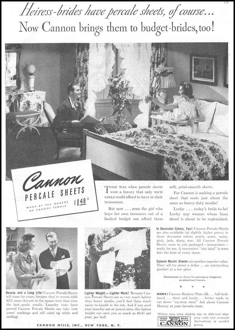 CANNON SHEETS GOOD HOUSEKEEPING 03/01/1940 p. 73