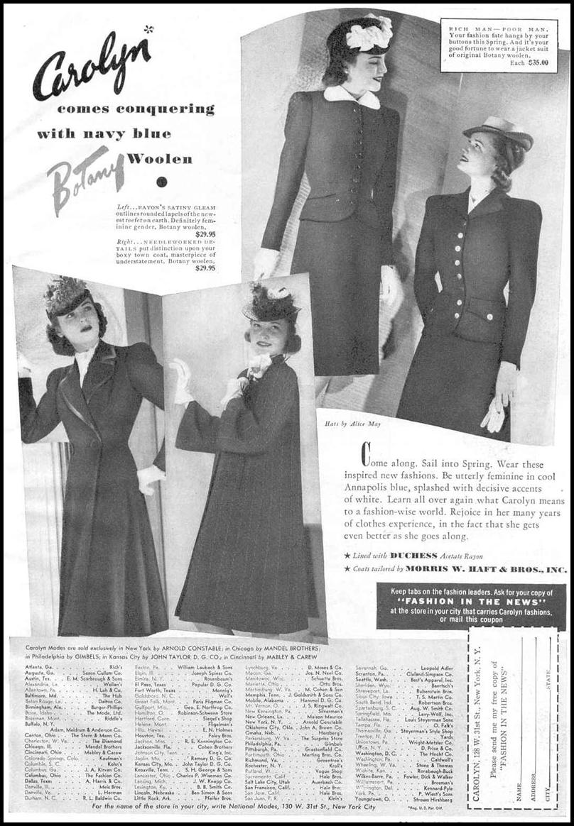 CAROLYN FASHIONS GOOD HOUSEKEEPING 03/01/1940 p. 139