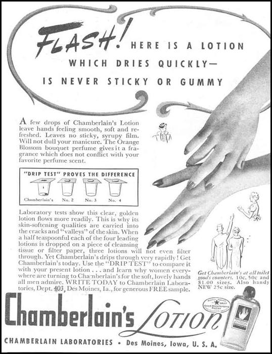 CHAMBERLAIN'S HAND LOTION GOOD HOUSEKEEPING 03/01/1940 p. 206