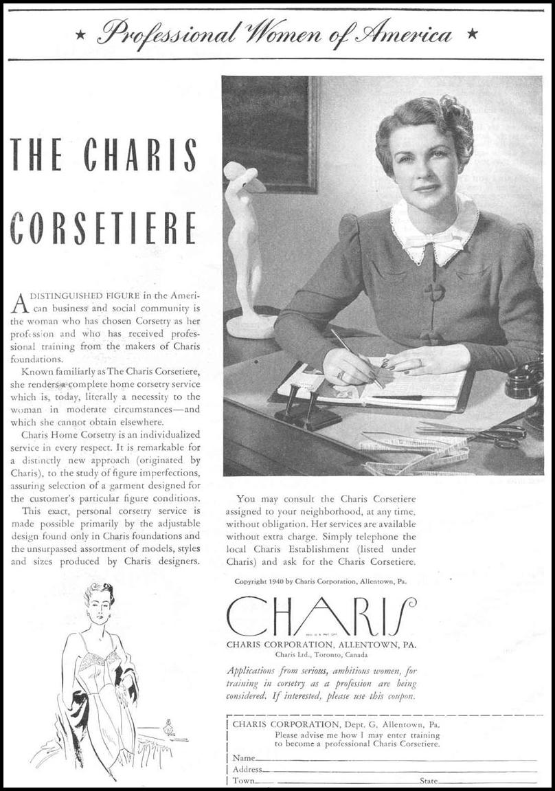 CHARIS HOME CORSETRY GOOD HOUSEKEEPING 03/01/1940 p. 124