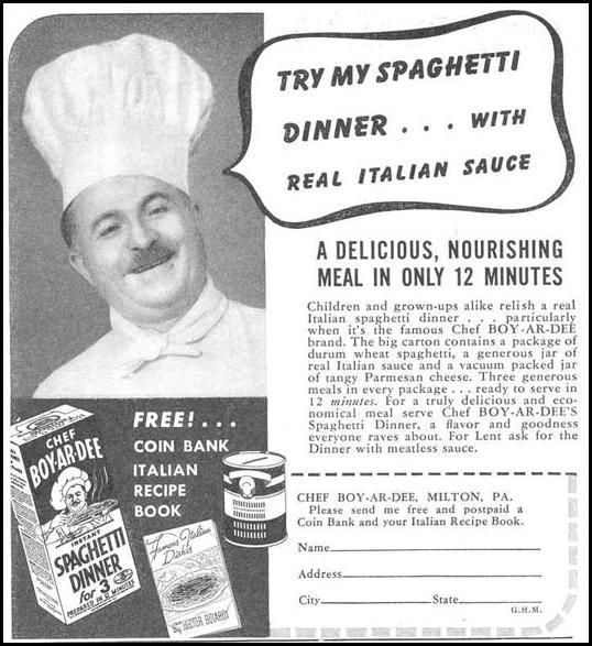 CHEF BOY-AR-DEE SPAGHETTI DINNER GOOD HOUSEKEEPING 03/01/1940 p. 201