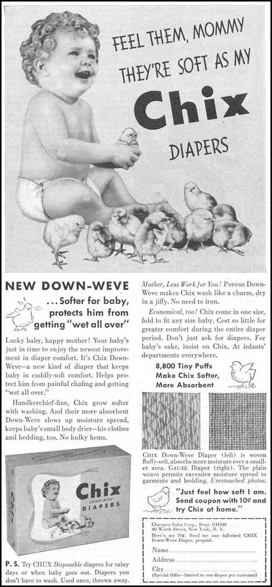 CHIX DOWN WEVE DIAPERS GOOD HOUSEKEEPING 03/01/1940 p. 143