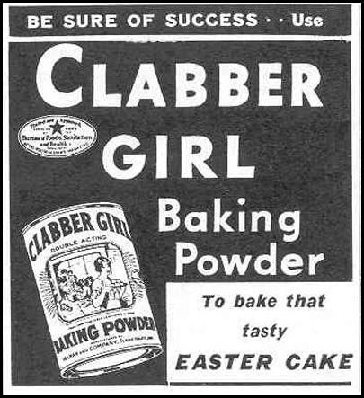 CLABBER GIRL BAKING POWDER GOOD HOUSEKEEPING 03/01/1940 p. 187