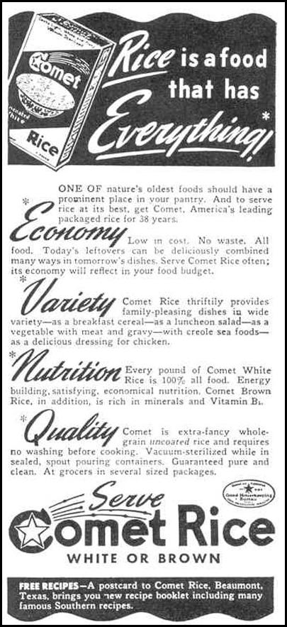 COMET RICE GOOD HOUSEKEEPING 03/01/1940 p. 178
