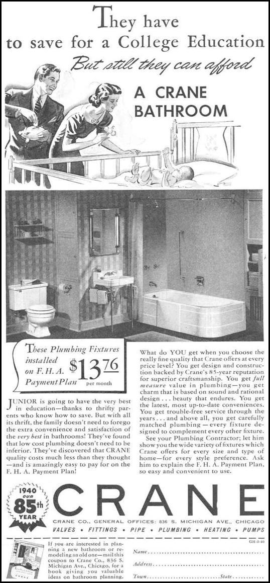 BATHROOM FIXTURES GOOD HOUSEKEEPING 03/01/1940 p. 163