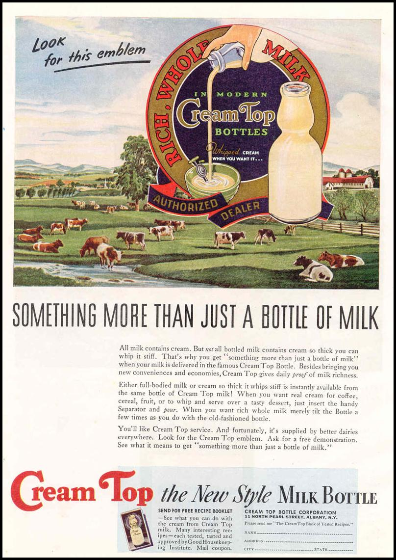 CREAM TOP MILK BOTTLES GOOD HOUSEKEEPING 03/01/1940 p. 158