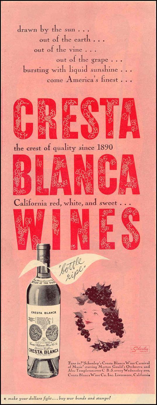 CRESTA BLANCA WINES LIFE 12/20/1943 p. 122