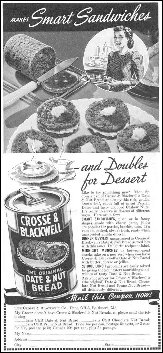 THE ORIGINAL DAT & NUT BREAD GOOD HOUSEKEEPING 03/01/1940 p. 185