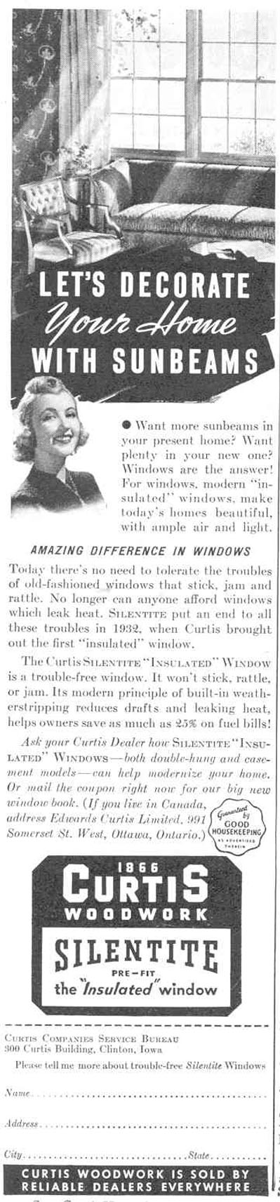 CURTIS SILENTITE INSULATED WINDOWS GOOD HOUSEKEEPING 03/01/1940 p. 172