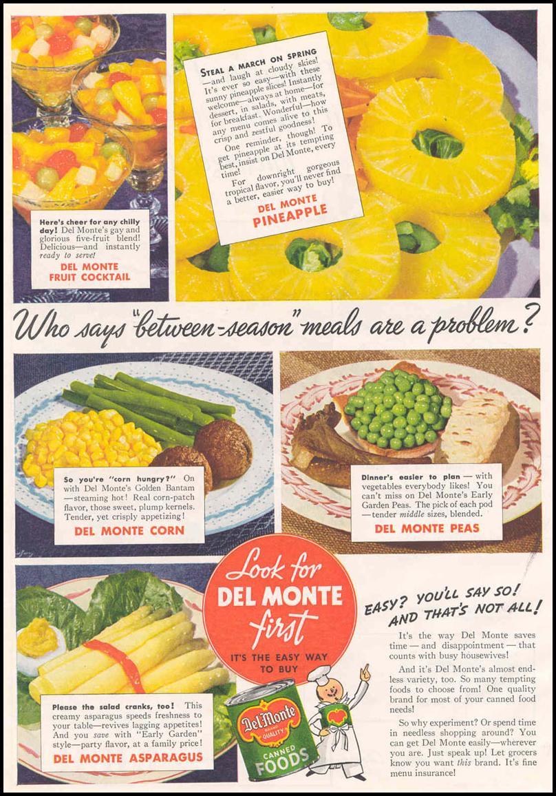DEL MONTE CANNED FOODS GOOD HOUSEKEEPING 03/01/1940 p. 12