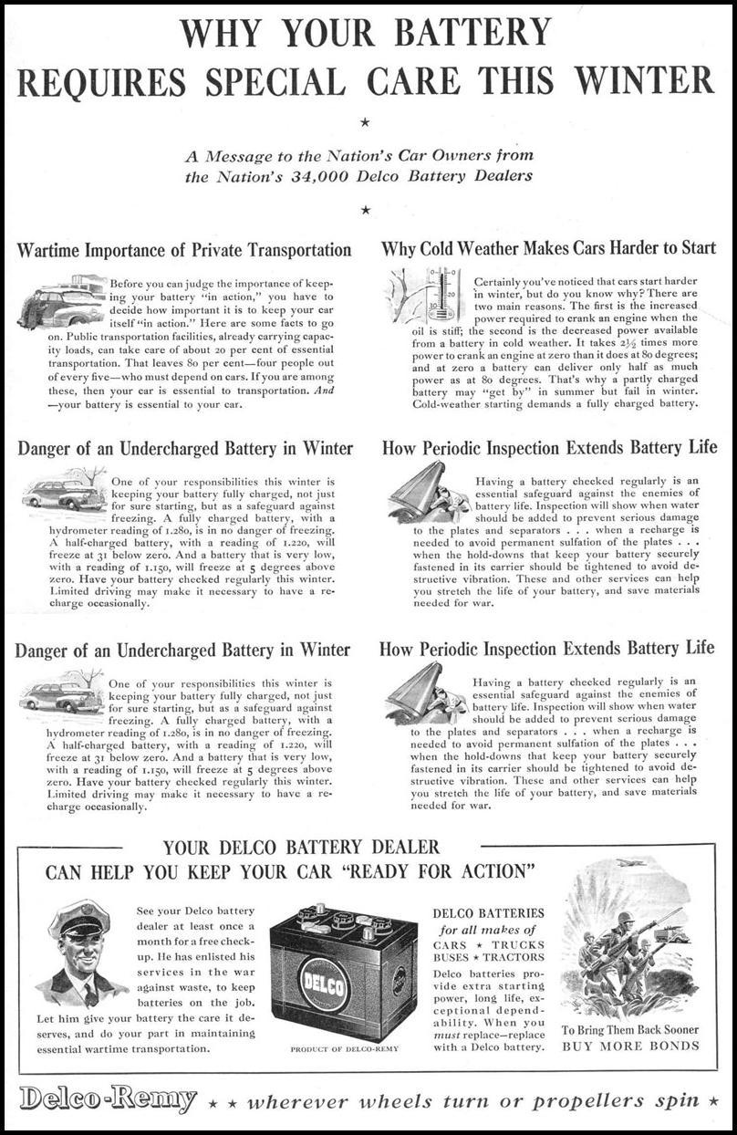 DELCO AUTO BATTERIES LIFE 12/20/1943 p. 1
