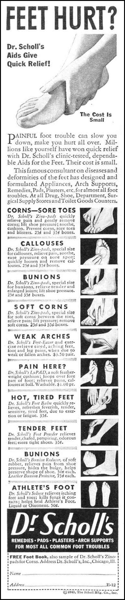 DR. SCHOLL'S FOOT CARE PRODUCTS LIFE 12/20/1943 p. 84