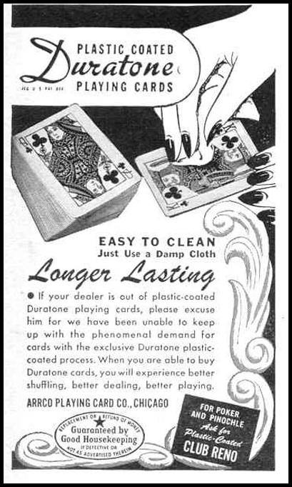 DURATONE PLAYING CARDS LIFE 12/20/1943 p. 123