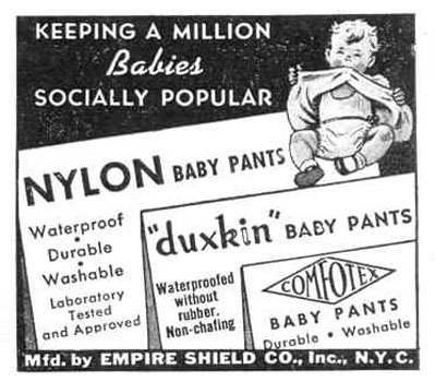 DUXKIN AND COMFOTEX NYLON BABY PANTS LIFE 12/20/1943 p. 100