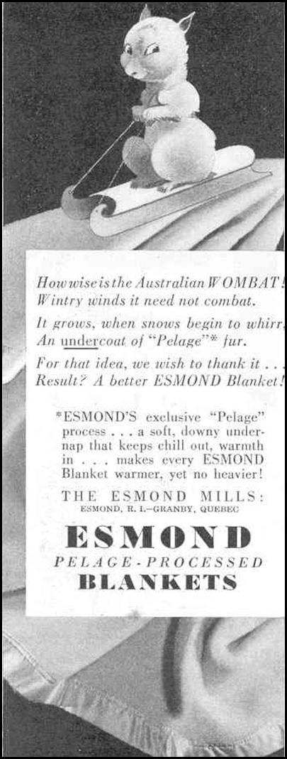 ESMOND PELAGE-PROCESSED BLANKETS GOOD HOUSEKEEPING 03/01/1940 p. 196