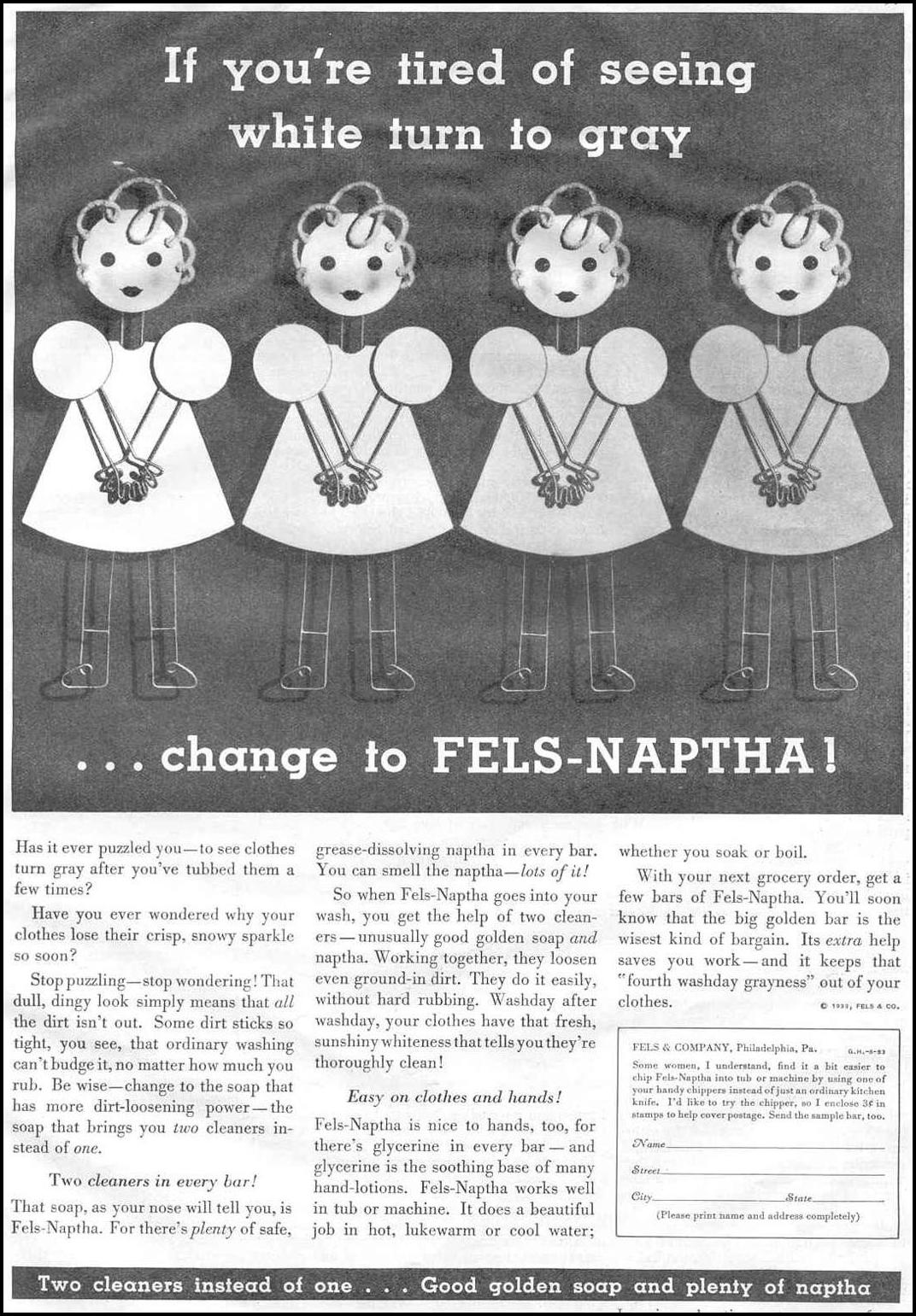 FELS-NAPTHA SOAP GOOD HOUSEKEEPING 06/01/1933 p. 97