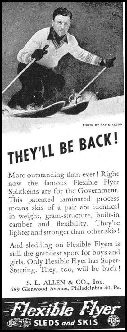 FLEXIBLE FLYER SLEDS AND SKIS LIFE 12/20/1943 p. 114
