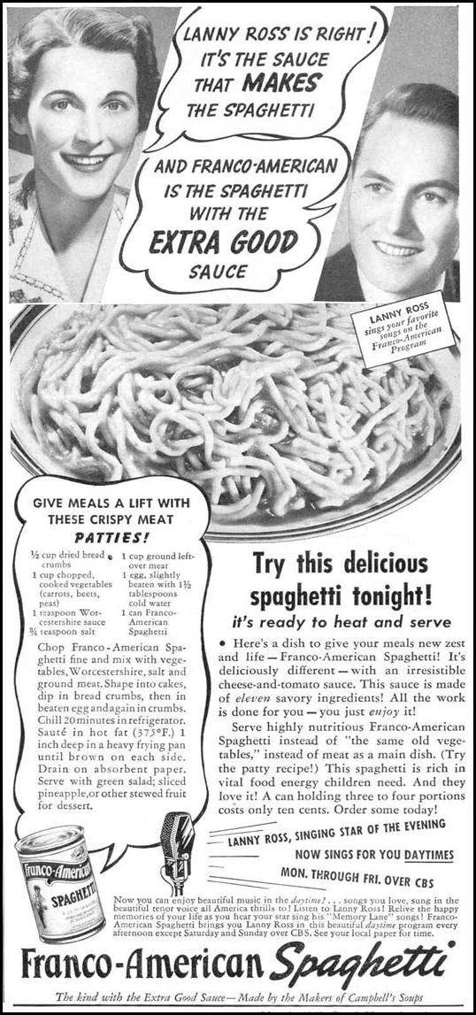 FRANCO-AMERICAN SPAGHETTI GOOD HOUSEKEEPING 03/01/1940 p. 89