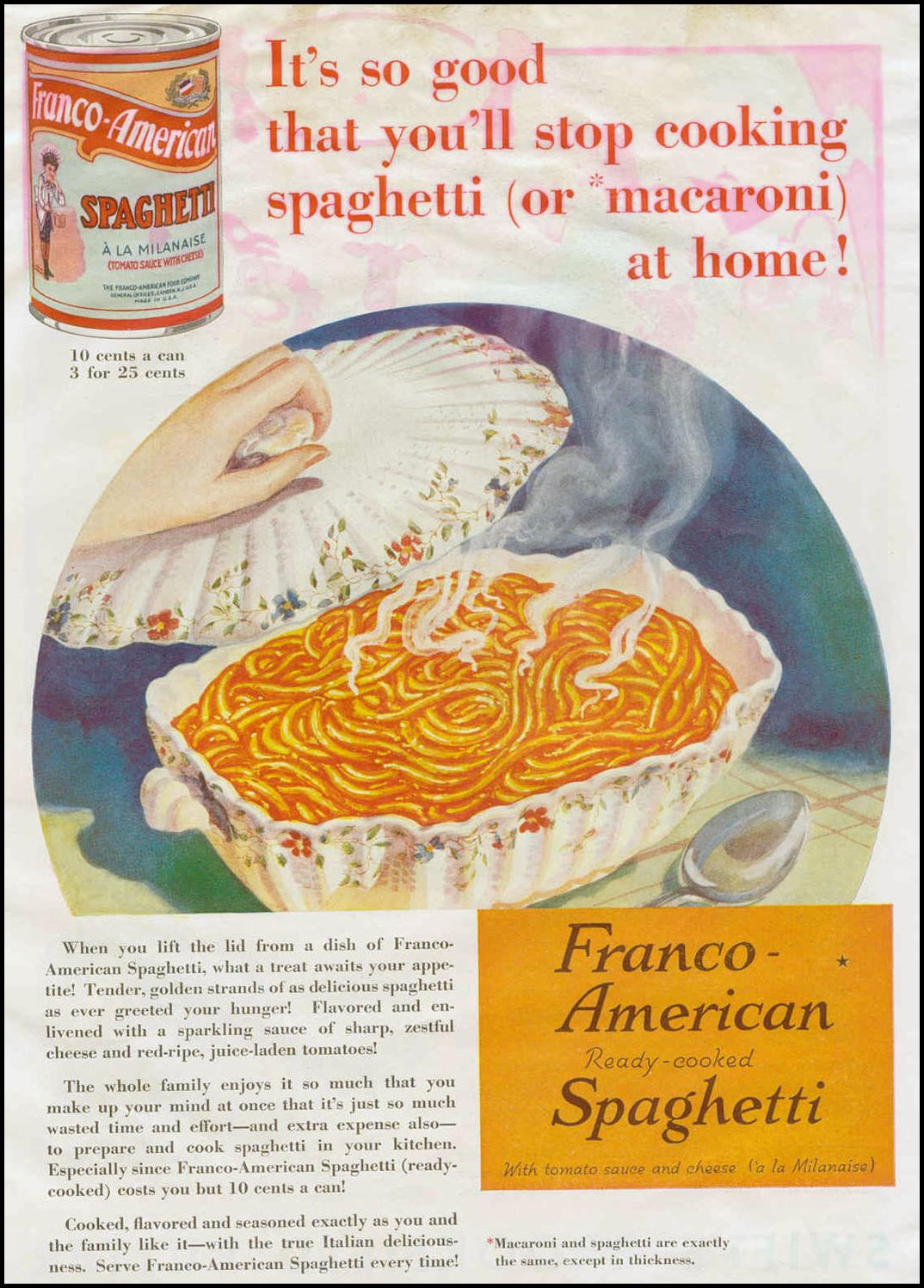 FRANCO-AMERICAN READY-COOKED SPAGHETTI GOOD HOUSEKEEPING 06/01/1933 p. 93