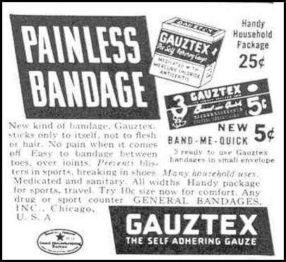 GAUZTEX - THE SELF ADHERING GAUZE GOOD HOUSEKEEPING 03/01/1940 p. 188