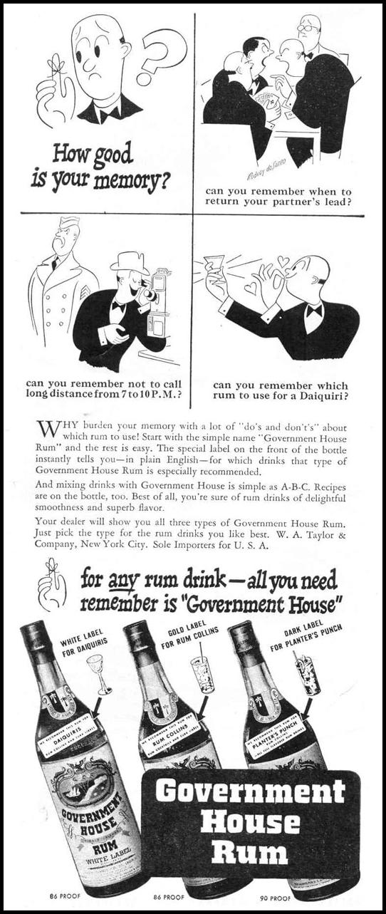 GOVERNMENT HOUSE RUM LIFE 12/20/1943 p. 106