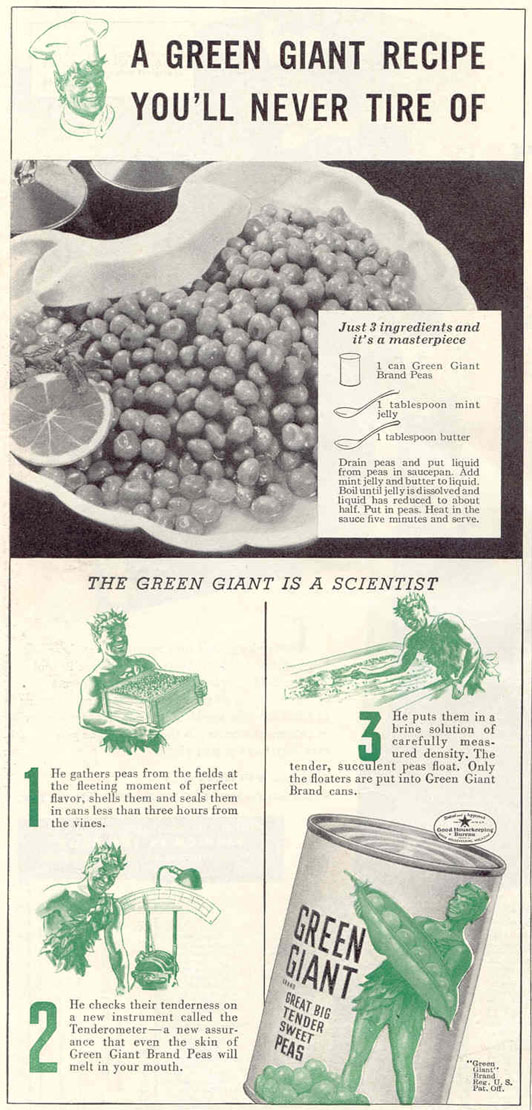 GREEN GIANT BRAND PEAS GOOD HOUSEKEEPING 03/01/1940 p. 140