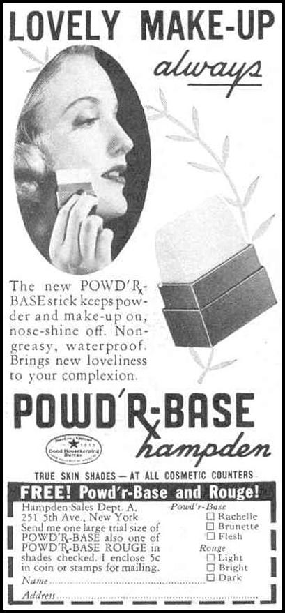 HAMPDEN'S POWD'R-BASE MAKE-UP GOOD HOUSEKEEPING 03/01/1940 p. 198