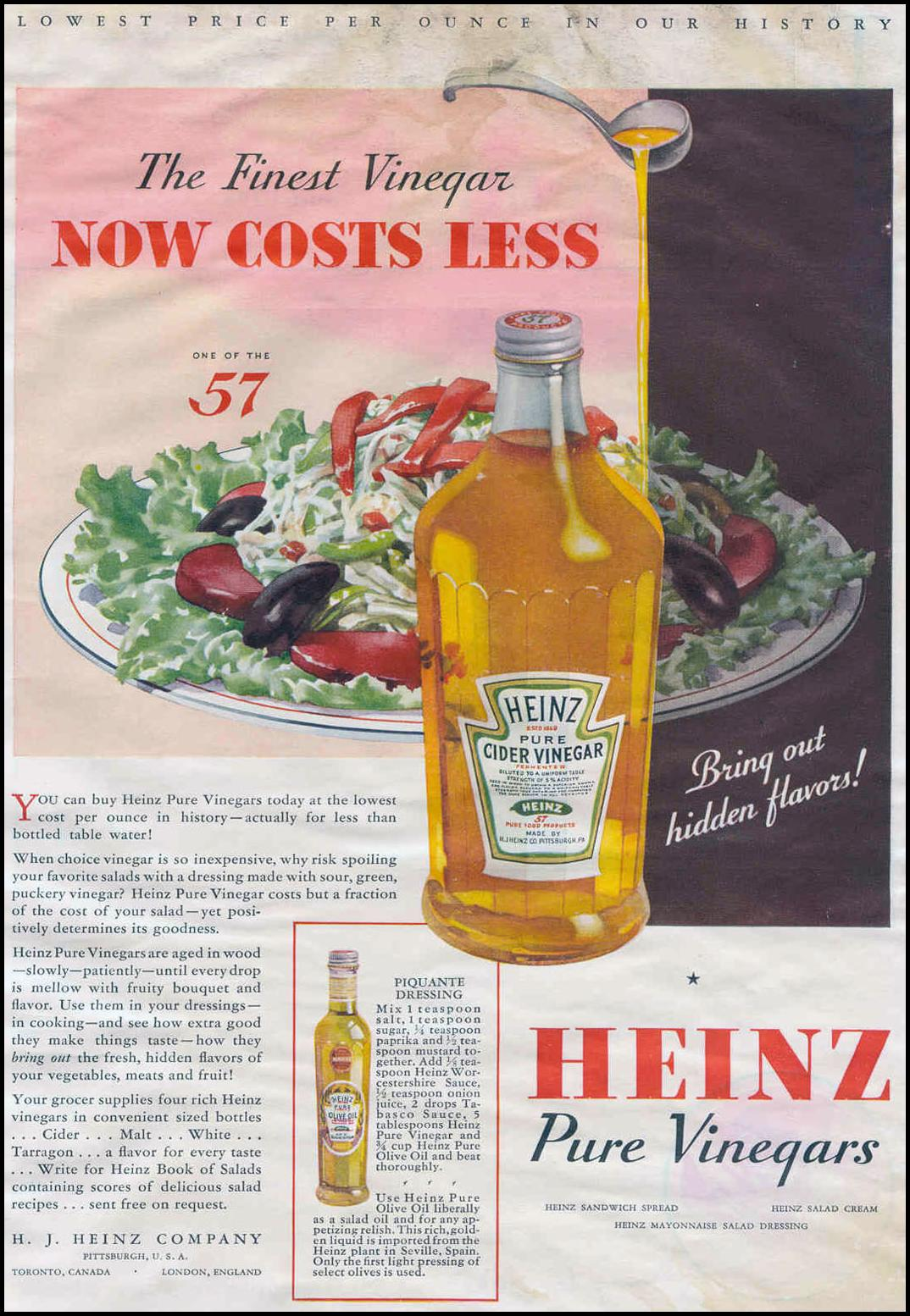 HEINZ PURE VINEGARS GOOD HOUSEKEEPING 06/01/1933 p. 19