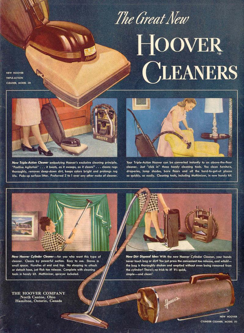 HOOVER VACUUM CLEANERS LIFE 10/27/1947 p. 29