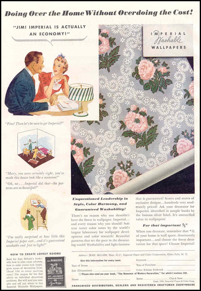 IMPERIAL WASHABLE WALLPAPERS GOOD HOUSEKEEPING 03/01/1940 p. 146
