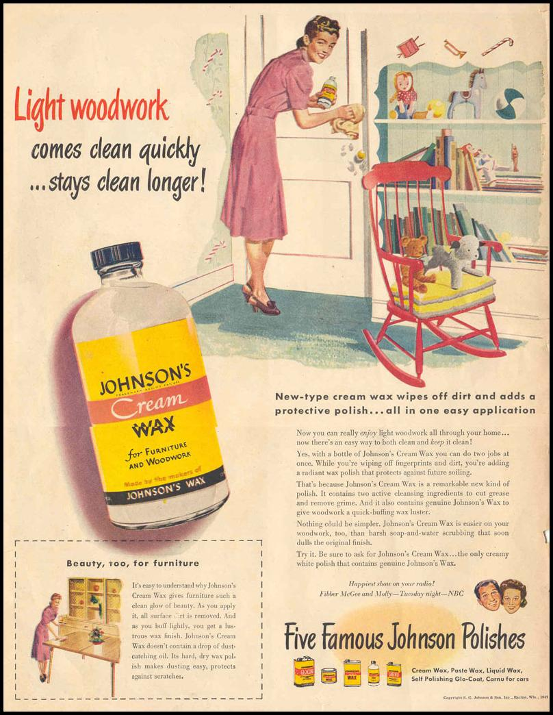 JOHNSON`S FURNITURE WAXES & POLISHES LIFE 10/27/1947