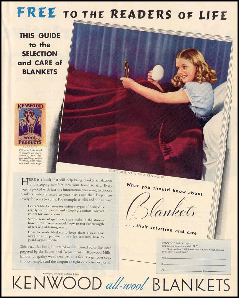KENWOOD ALL-WOOL BLANKETS LIFE 09/06/1937 p. 57