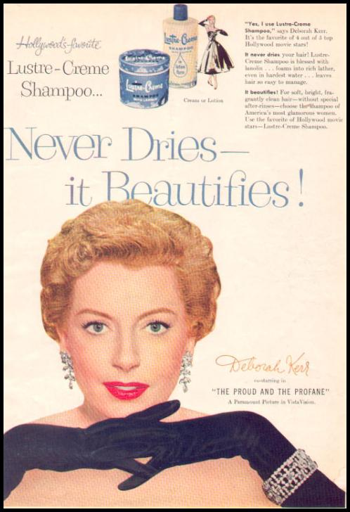 LUSTRE-CREME SHAMPOO PHOTOPLAY 08/01/1956 INSIDE BACK