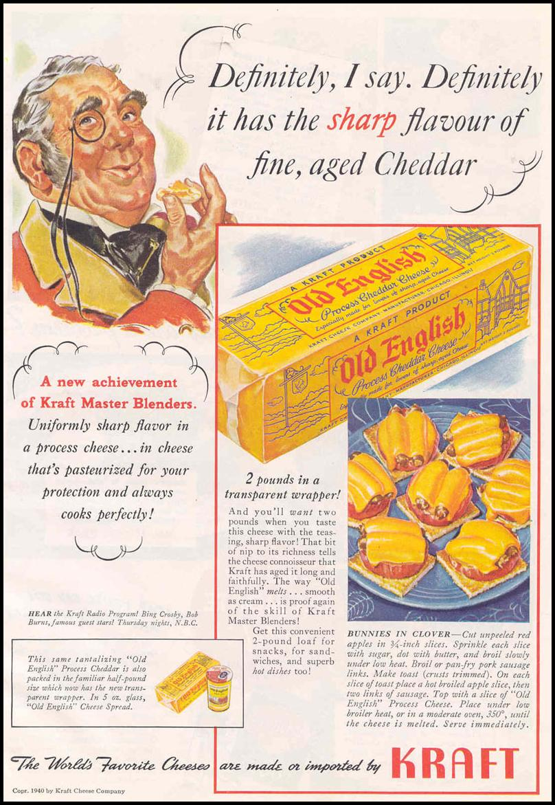 KRAFT OLD ENGLISH PROCESS CHEDDAR CHEESE GOOD HOUSEKEEPING 03/01/1940 p. 11