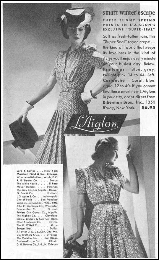 L'AIGLON WOMEN'S DRESSES GOOD HOUSEKEEPING 03/01/1940 p. 199