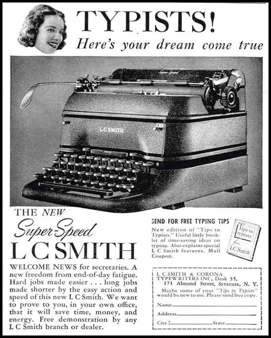 L. C. SMITH TYPEWRITERS LIFE 03/18/1940 p. 100
