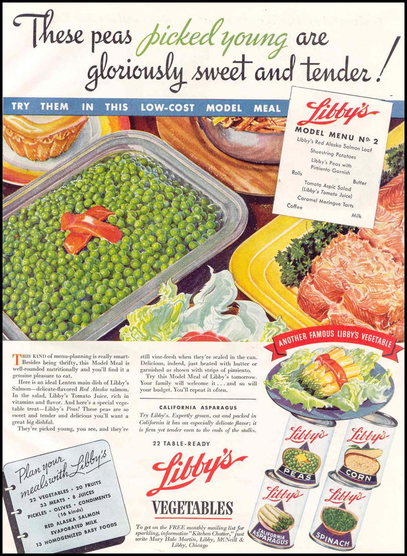 LIBBY'S PEAS GOOD HOUSEKEEPING 03/01/1940 p. 145