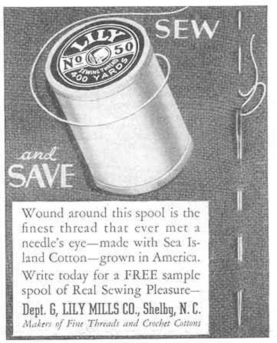 LILY SEWING THREAD GOOD HOUSEKEEPING 03/01/1940 p. 205
